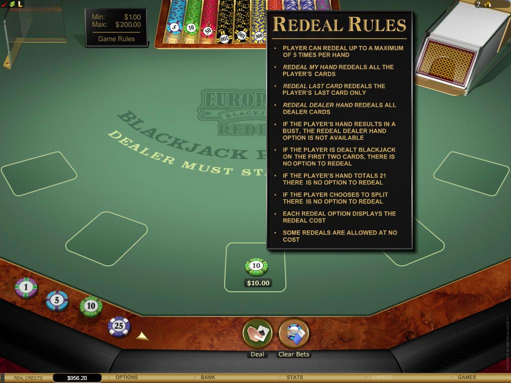 Virtual blackjack table - Redeal Blackjack